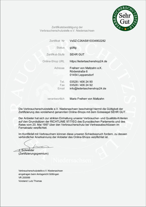 Zertifikat Verbraucherschutzstelle Niedersachsen
